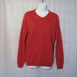 J.Crew Orange Red Merino Wool Spring Sweater Sz M